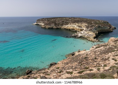 The beach of the Rabbit Island of Lampedusa, one of the most beautiful beaches of the Mediterranean Sea.