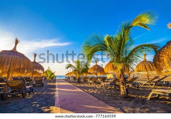 Beach relaxing resort area on the seaside of Torviscas in summer holiday, Tenerife