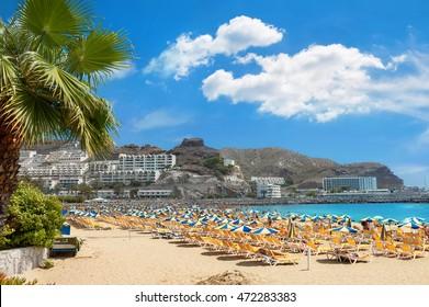 Beach in resort town Puerto Rico. Gran Canaria. Canary Islands