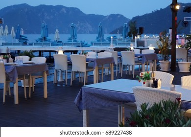 beach restaurant at evening