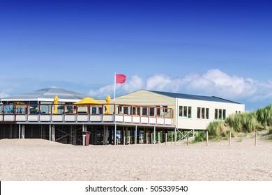 Beach restaurant pavilion in South Holland, Netherlands