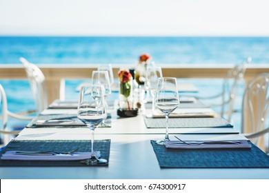 Beach restaurant with sea view