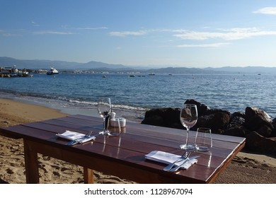 Beach Restaurant in Theoule sur Mer, South of France in the  Early Morning.