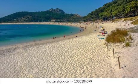 Beach of Rhodes in the Cies Islands, Vigo (Pontevedra). Idyllic beach chosen best beach in the world by The Guardian newspaper