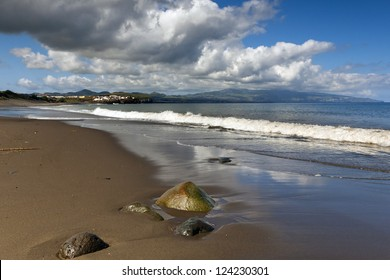 Beach in Ribeira Grande, Island of Sao Miguel, Archipelago of the Azores, Portugal, Europe