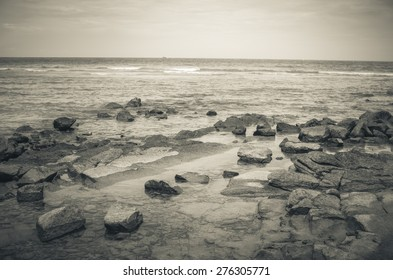 Beach rock and blue sea in Thailand vintage