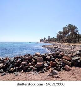 Beach with rocks and palm trees, Dahab, Egypt.