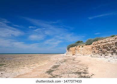 Beach with rocks in Saint Marie en Re on island Ile de Re