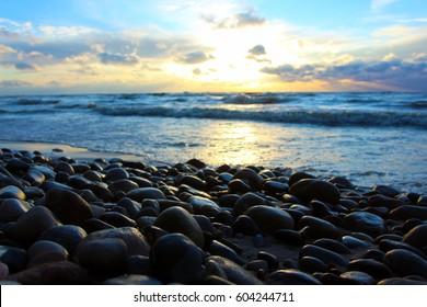 Beach Rocks Sunset