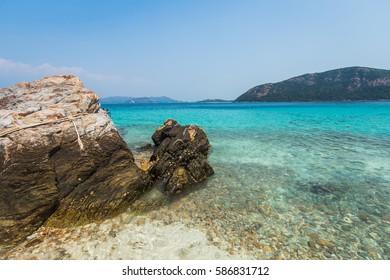 Beach, rocky beach, beautiful beach, Koh Kham, Kham island, Sattahip, Chonburi, Thailand.