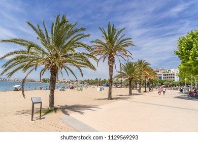 The beach at Roses on the Costa Brava in Catalonia Spain