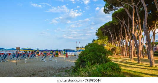 Beach of Roseto degli Abruzzi, Abruzzo, Italy. Roseto degli Abruzzi is also known as the 'Lido delle Rose' because of the great variety of roses and oleanders