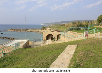 Beach and Ruins of Biblical City of Achziv in the Mediterranean Coast of Israel