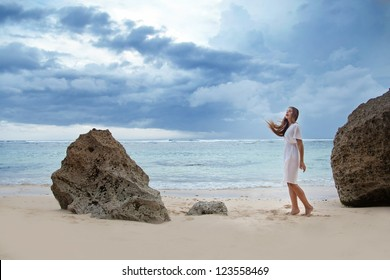 Beach, sad beautiful woman