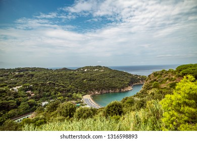 Beach of San Montano. Travel in Italy, Ischia Island, Naples. Famous landmark and tourist destination. Soft Focus, copy space for text.