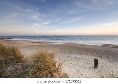 The beach and sand dunes at Hengistbury Head near Chrischurch in Dorset