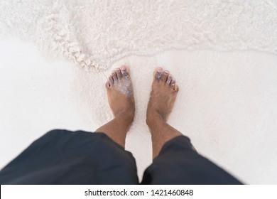 Beach Sand Feet African American Water Vacation Flip Flops Chari Ocean