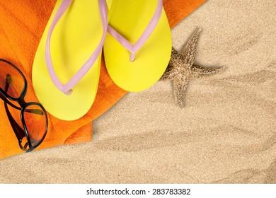 Beach, Sand, Flip-flop.