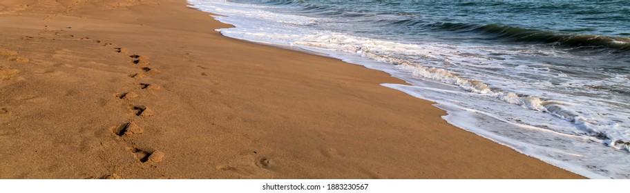 Beach sand footprint wave sea landscape relax