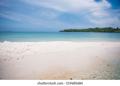 beach sand sea with blue sky in summer