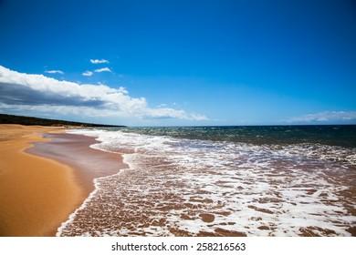 Beach, sand and sky.  Lanai, Hawaii.  Polihua Beach.