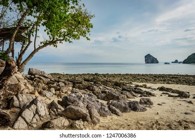 Beach with sand and stones in Krabi area, tree with green leaves on the left, Thai island in the background, small ship, blue sky and sea, Thailand