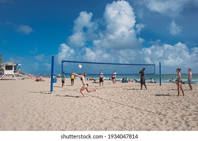 Beach or Sand Volleyball in Fort Lauderdale Beach - Florida, USA. January 2019