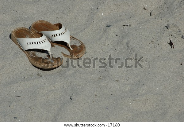 Beach Sandals in the sand