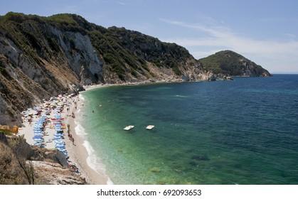 The beach of Sansone at the elba island. On the background Capo d'Enfola. Italy