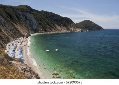 The beach of Sansone at the elba island. On the background Capo d'Enfola. Italy