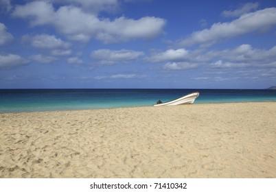 beach of santa maria, island sal, cape verde