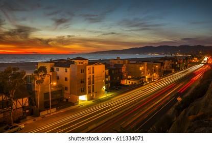 beach Santa Monica freeway sunset clear evening coastal landscape