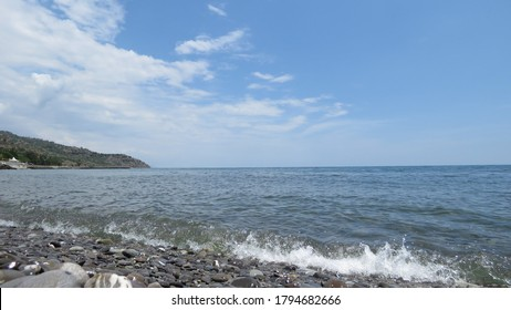 Beach in Sater on a bright summer day