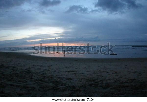 beach scene at dusk