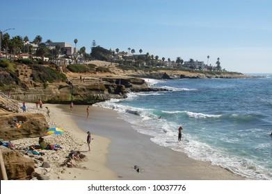 Beach scene; La Jolla, California