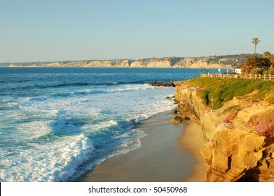Beach scene in late afternoon; La Jolla, California