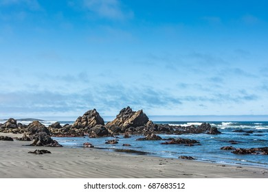 Beach scene at low tide on the Sonoma Coast