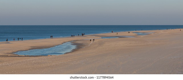 Beach scene on Sylt island, Germany, with hikers walking along the shoreline and beach grass on a dune in the foreground