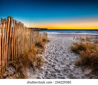 Beach scene in Panama City Beach Florida after sunset