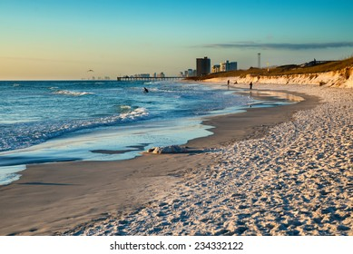 Beach scene in Panama City Beach Florida at sunset