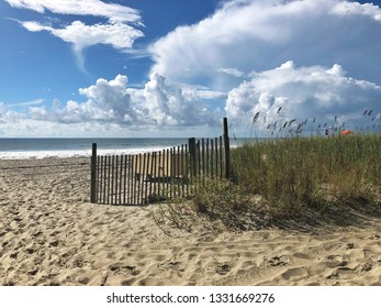 Beach scene with sea grass and Atlantic Ocean in background.