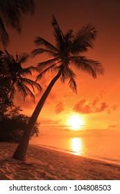 A beach scene with sunset in the background at Kuredu island, Maldives, Lhaviyani atoll