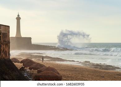 Beach scene with very rough sea in Rabat, Morocco