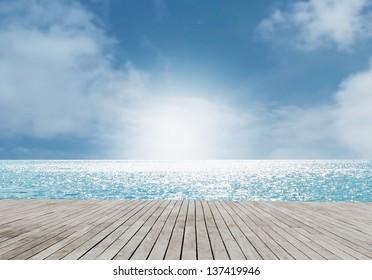 Beach Scene With Wooden Floor,Dramatic Look