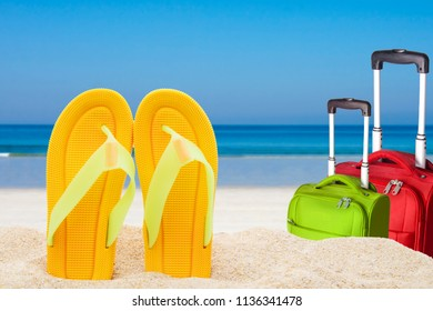 beach scenery with sandals in the sand