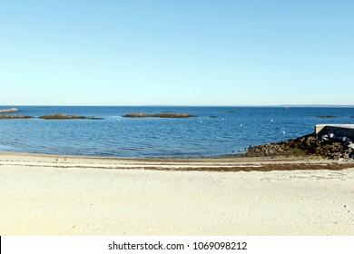 Beach scenic on Long Island Sound, Rye New York, Westchester County