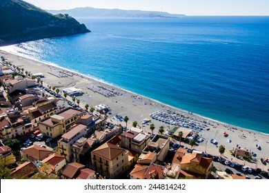 Beach of Scilla, Calabria, with Messina, Sicily, in the Background (Italy)