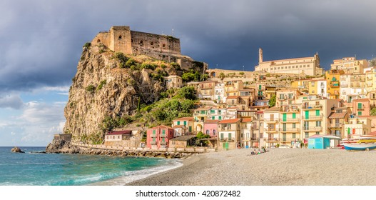Beach of Scilla with Castello Ruffo, Calabria, Italy