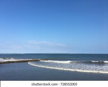 Beach sea and blue sky in Boca del Rio (Mouth river) Veracruz, Mexico