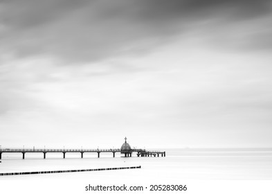 Beach, sea bridge and drivung gondola Zingst, Fischland-Darss, Mecklenburg-West Pomerania, Germany.